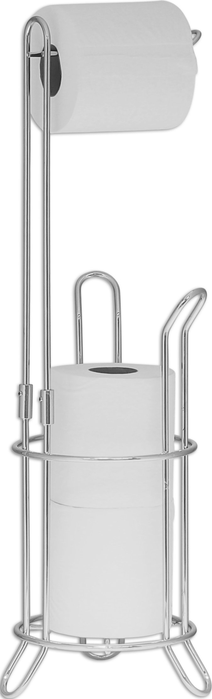 SImpleHouseware Bathroom Toilet Tissue Paper Roll Storage Holder Stand, Chrome Finish by Simple Houseware