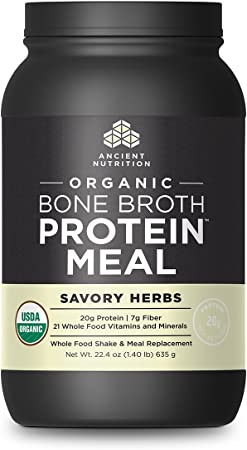 Ancient Nutrition Organic Bone Broth Protein MEAL, Savory Herb Flavor, 15 Serving Size - Organic, Gut-Friendly, Paleo-Friendly, Protein Meal Replacement