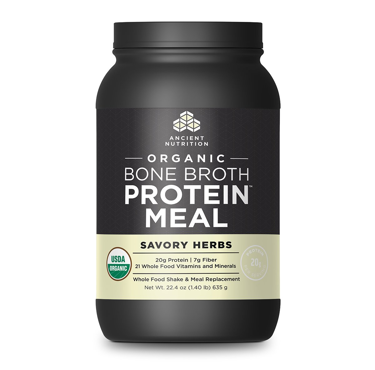 Ancient Nutrition Organic Bone Broth Protein Meal, Savory Herb Flavor, 15 Serving Size - Organic, Gut-Friendly, Paleo-Friendly, Protein Meal Replacement by Ancient Nutrition
