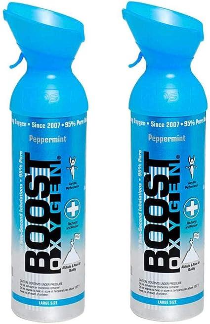 Amazon Com Boost Oxygen Natural Portátil 10 Litro Pure Oxígeno Bote De Oxígeno Menta Peppermenta 2 Unidades Health Personal Care