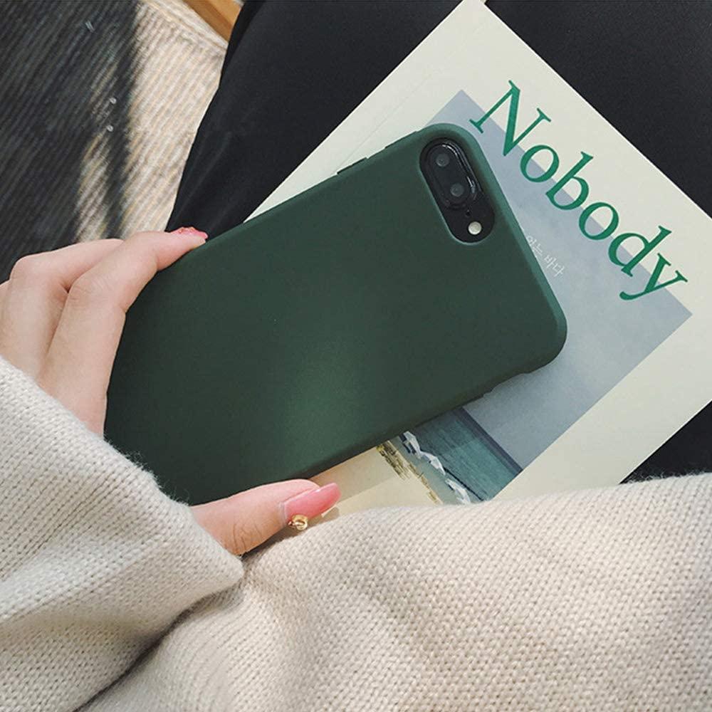 YonMeet Retro Case for iPhone X 8 7 7plus Soft pro-TPU Cover for iPhone6 6Plus 6s 6sPlus Fashion Style Flexible Rubbery Slim Cover (iPhone 6 Plus/6S Plus, Forest Green)