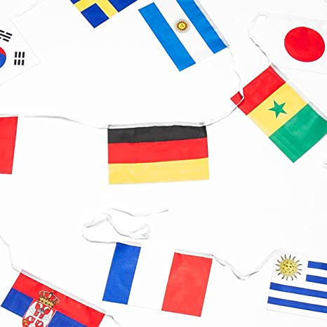 XXL Bandera Cadena para WM 2018 en Rusia - 12 metros con 32 ...