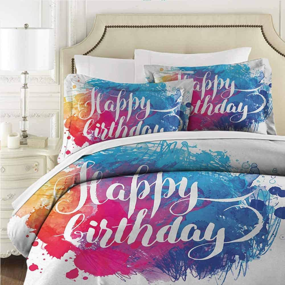 dsdsgog Skin-Friendly Birthday,Watercolor Greeting Card Inspired Display with Text Brushstrokes Celebration,Blue Green White 70x86 inch Hypoallergenic