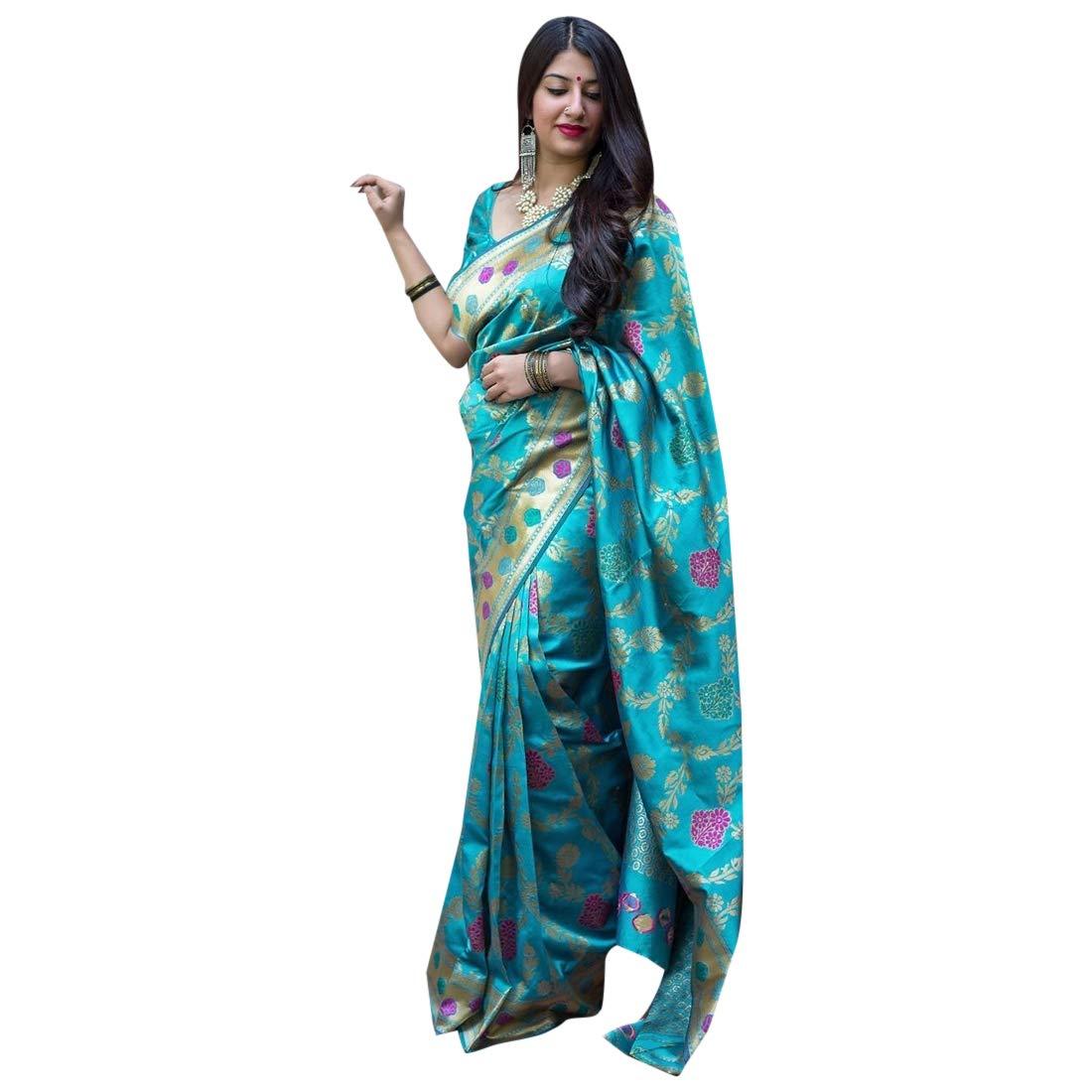 bluee Silk Saree Collection With Blouse Piece Light Weight Sari 7392