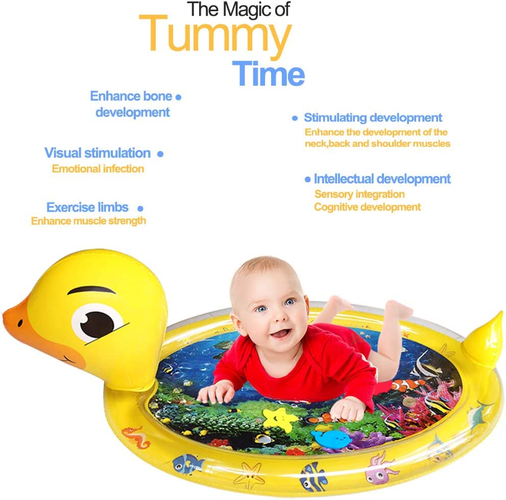 BPA Free | CPSC Certified WSPER Tummy Time Water Mat Inflatable Play Mat for 3 Months Newborn Infants Baby Sensory Development and Stimulation Growth