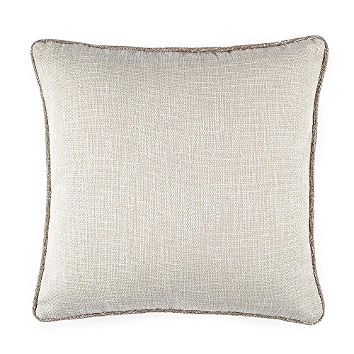 Homier Beige Color Linen Blend Decorative Pillow Cover Throw Cushion Case - Beige/Cream/Ivory Tweed with Tan/Brown Accent Piping - Large, 20 x 20 Inches