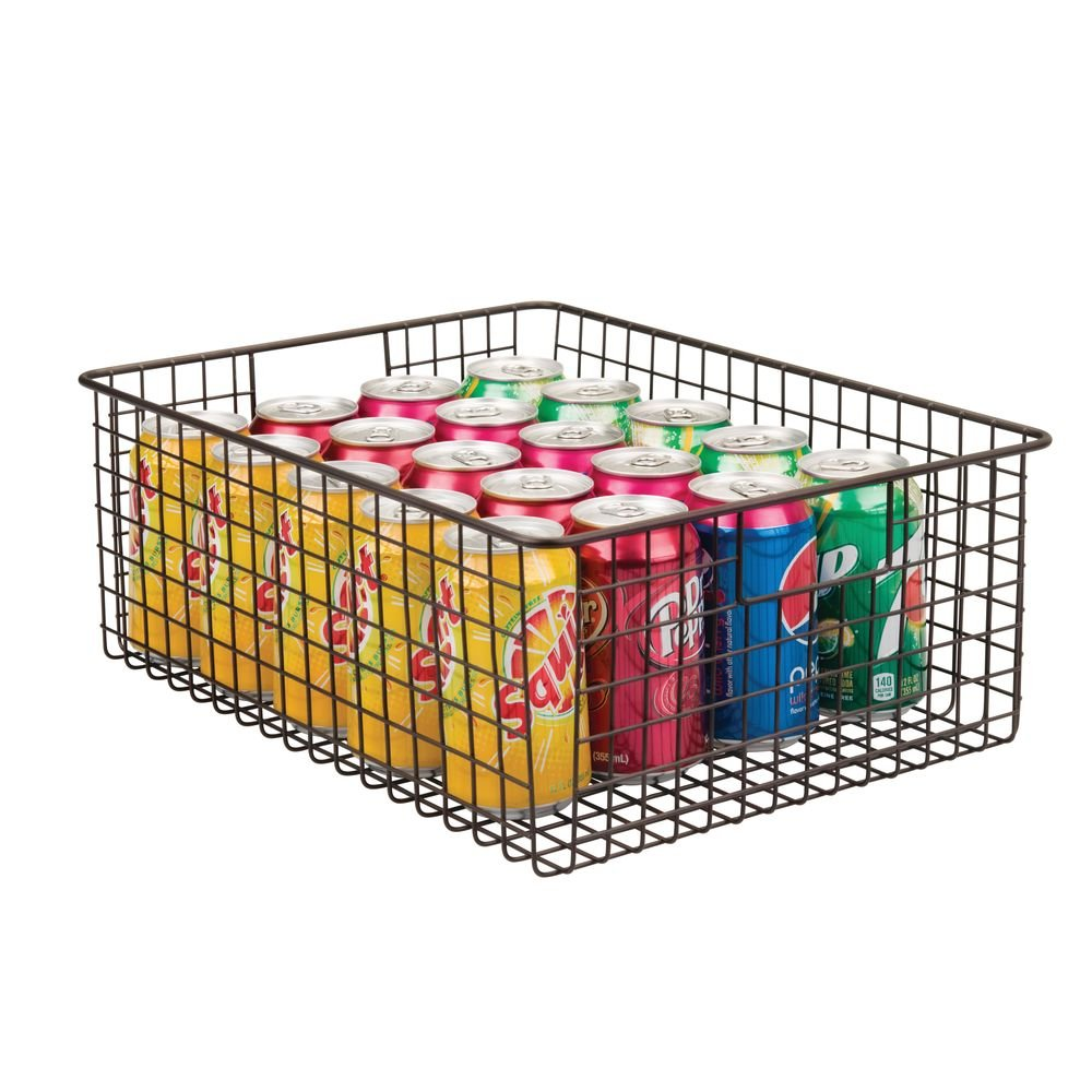 mDesign Farmhouse Decor Metal Wire Food Organizer Storage Bin Baskets with Handles for Kitchen Cabinets, Pantry, Bathroom, Laundry Room, Closets, Garage - Bronze