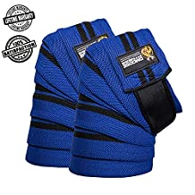 Knee Wraps by DMoose Fitness – Strong Velcro, Durable Stitching – Heavy Duty 78 inches Elastic Compression Knee Wraps to Enhance Your Powerlifting.