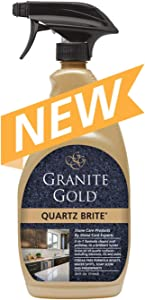Granite Gold Quartz Brite Spray Streak-Free Cleaner Deeps Cleans and Polishes Surfaces Including Silestone, LG, and More - Made in the USA, 24 Ounces