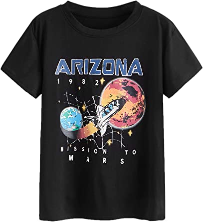 Shein Women S Rocket Letter Graphic Tee Short Sleeve Cartoon Print T Shirt At Amazon Women S Clothing Store