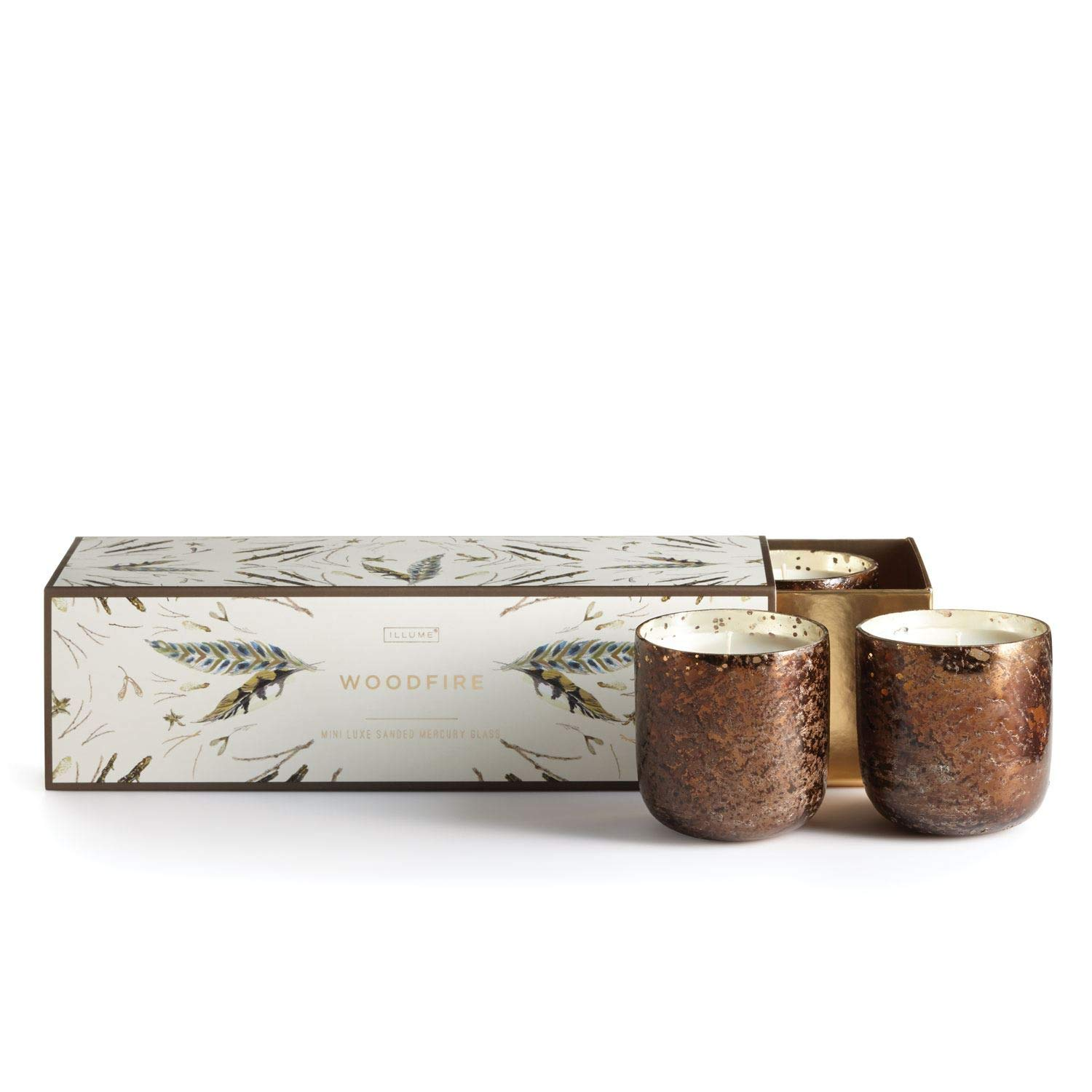 Illume Box 3 Mini Luxe Sanded Mercury Glass Votives (Woodfire) by Illume