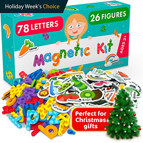 Doug Magnetic Animal (Magnetic Letters and Foam Magnets for Toddlers and Kids - Alphabet Magnets for Fridge and Dry Erase Board - Baby Magnets with Zoo and Farm Animals - Educational Toy for Preschool Learning and Spelling)