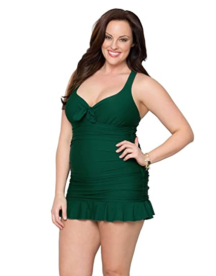 8b1a72ed43 Kiyonna Women s Plus Size Kelly Swimsuit 0X Emerald at Amazon Women s  Clothing store  Fashion One Piece Swimsuits