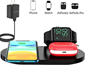 Wireless Charger, 3 in 1 Wireless Charging Station for iPhone, AirPods Pro /2,Apple Watch Stand Charging Dock, Fast Charging Pad Compatible with iPhone 11/XR/XS/X/8P/SE 2020