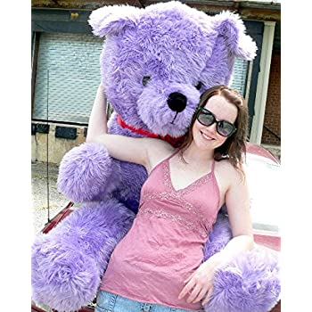 American Made Giant 6 Foot Purple Teddy Bear Big Plush Bear Made in USA