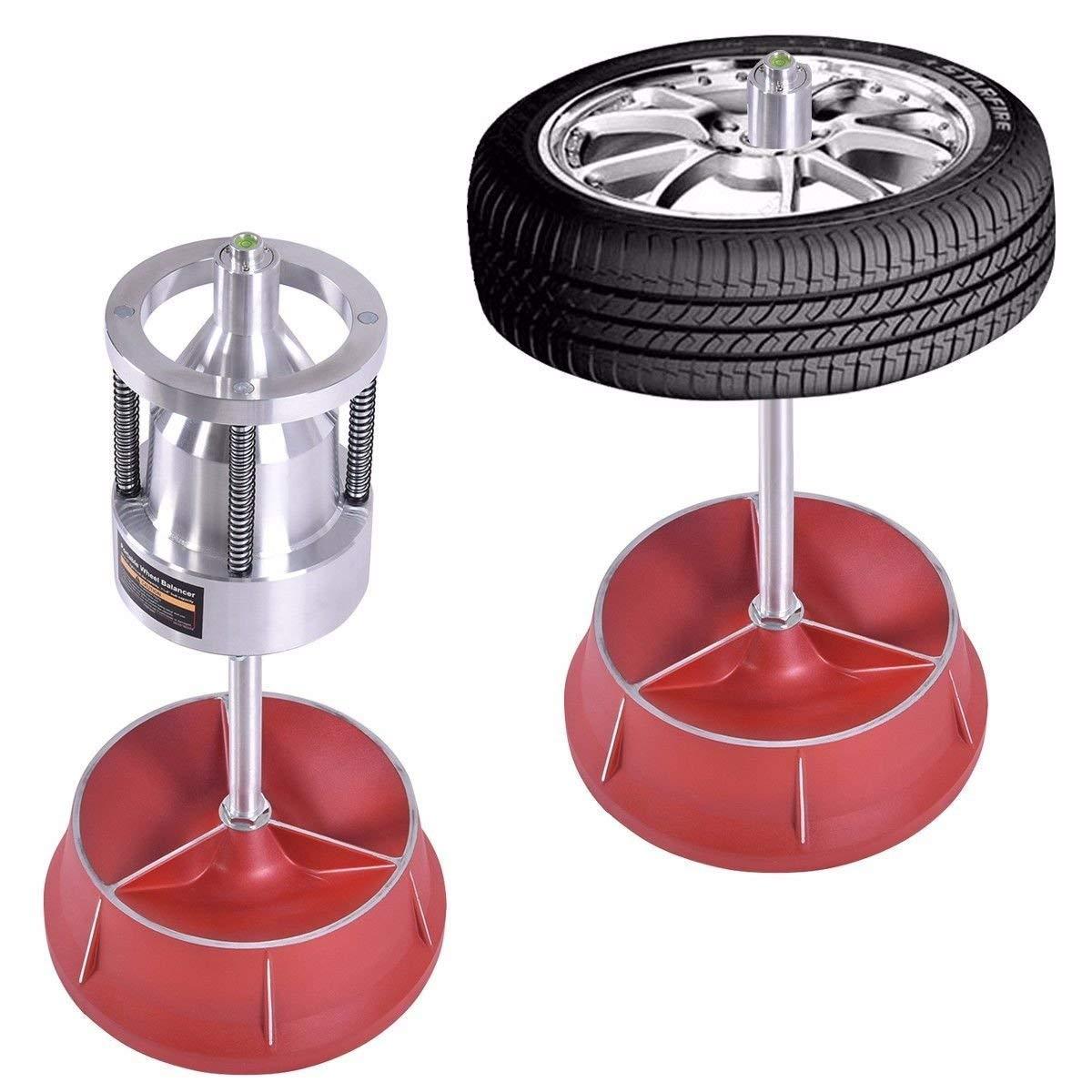 Pro Portable Hubs Wheel Balancer W/Bubble Level Heavy Duty Rim Tire Cars Truck Machined Aluminum