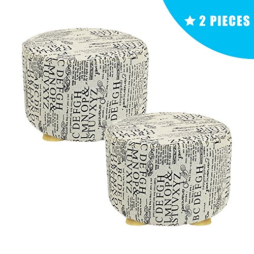 - Jerry & Maggie - 2 Pieces Mini Footstool Fabric Ottomans Bench Seat Foot Rest Step Stool with Feet Protection Design | Round - Short 4 Legs - Grey Letter Pattern