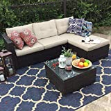 Best Outdoor Daybeds - PHI VILLA 3-Piece Outdoor Rattan Sectional Sofa- Patio Review