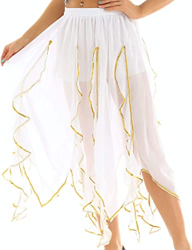 inhzoy Falda de Danza Oriental para Mujer Irregular Falda Elegante ...