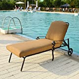 DOMI OUTDOOR LIVING Chaise Lounge Chair with Cushion, Patio Garden Furniture