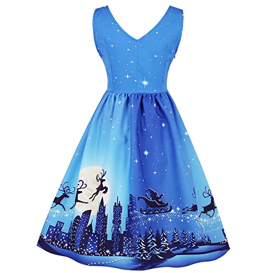 New Christmas Deer Print Vintage Party Dress A-Line Pin Up Swing Dress Women Retro