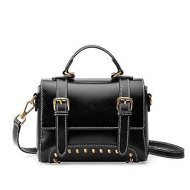 14ac8af5211c Chibi-store Genuine Leather Women Shoulder Bags Fashion Rivet ...