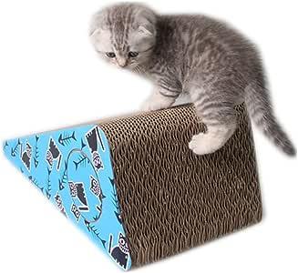 Wagyunfei Juguetes para Gatos Gato de Papel Corrugado Que raspa el Tablero de Bola de Papel Duro del cojín de la Garra para Enviar Catnip. Poste de rascado montado en la Pared:
