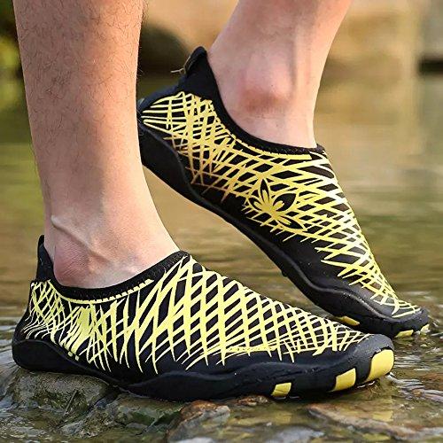Schnell trocknende Aqua-Wasser-Schuhe Santiro Frauen-Männer für Strand-Pool-Brandungs-Yoga-Übung Gelb 1
