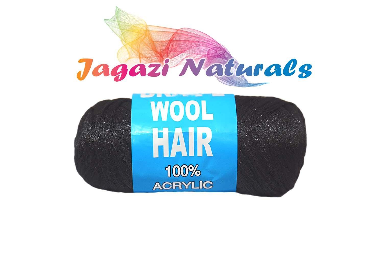 BLACK. Brazilian Wool hair: Faux Locks, Braids, Twists, Knitting Brazil Wool. Yarn BLACKWOOL