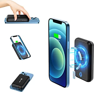 WAITIEE Magnetic Power Bank, 10000mAh Power Bank with USB-C Cable, Fast Magnetic Wireless Portable Charger for iPhone 12/12 Pro/12 Pro Max/12 Mini