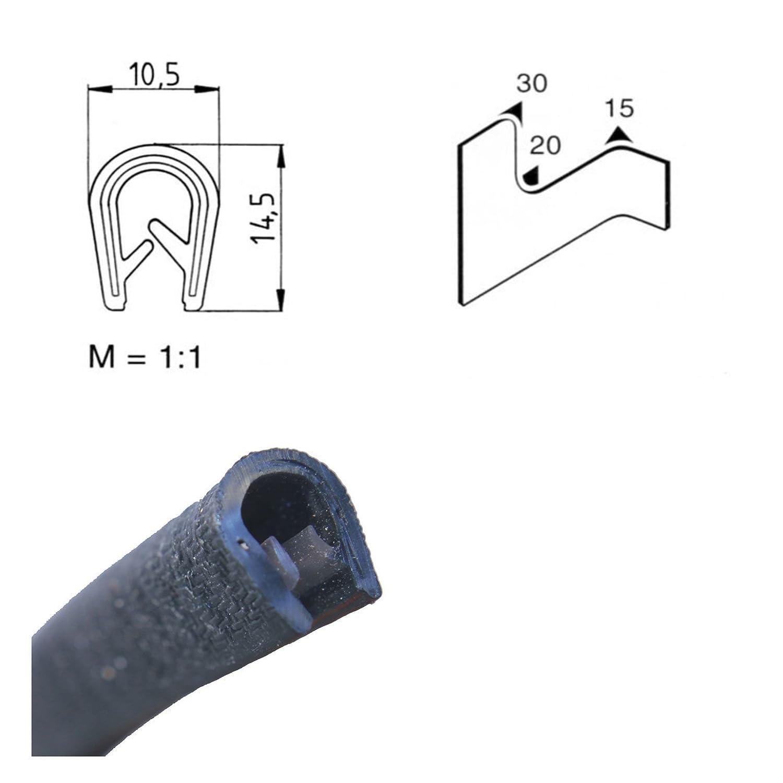 EUTRAS - Protezione per bordi, 1-4,5 mm, colore: Nero, lunghezze, listello in gomma con profilo a U Made in Germany 2126