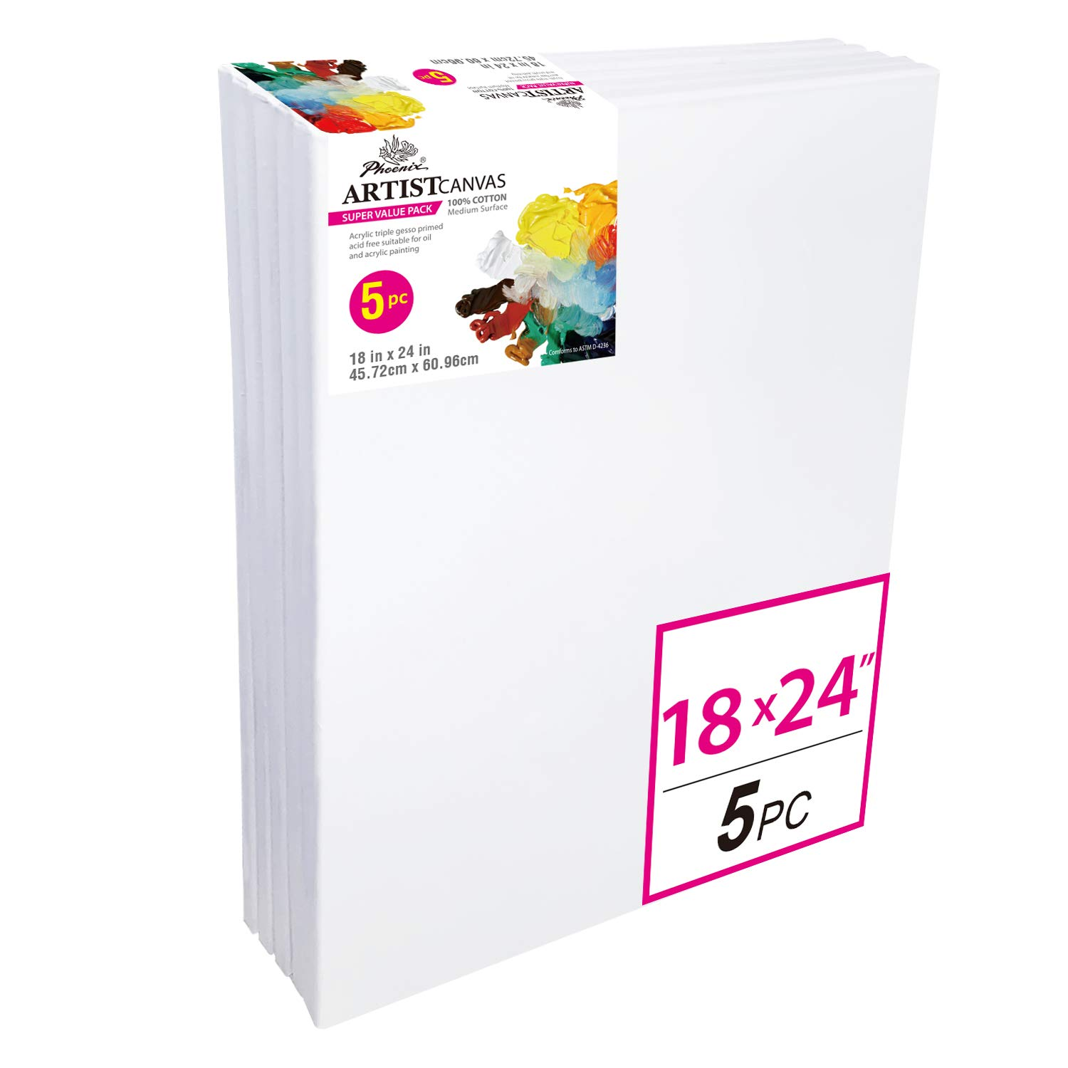 PHOENIX Pre Stretched Canvas for Painting - 18x24 Inch / 5 Pack - 5/8 Inch Profile of Super Value Pack for Oil & Acrylic Paint by PHOENIX
