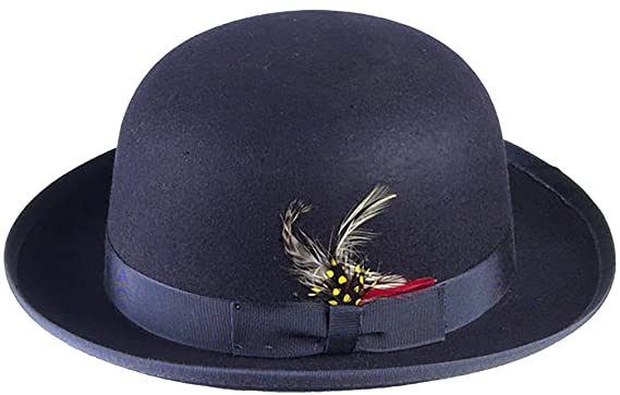 Amazon.com  New Mens 100% Wool Navy Blue Derby Bowler Hat  Clothing 45dbd8d51ad