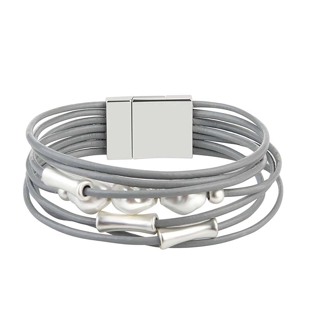 Jenia Grey Leather Wrap Bracelet - Pearl Rope Braided Multi-Strand Bangle - Handmade Jewelry for Women, Teens Girl Gift