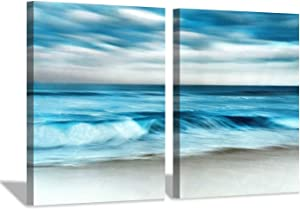 Abstract Ocean Wave Picture Print: Beach Painting Sunlight Seascape Wall Art on Canvas for Living Room (24'' x 18'' x 2 Panels)