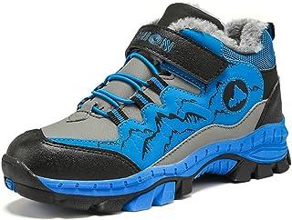 fuxinhe Garçons Camping Trekking en Fausse Fourrure Doublure Chaussures Velcro Scolaires Neige Bottes Respirantes Durables