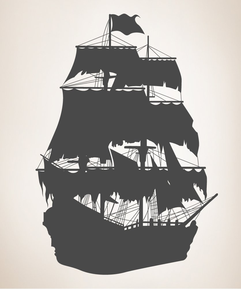 Amazon Vinyl Wall Decal Sticker Pirate Ship Silhouette Size