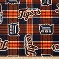 MLB Fleece Detroit Tigers Plaid Blue/Orange Fabric By The Yard