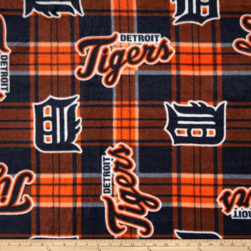 Fabric Traditions MLB Fleece Detroit Tigers Plaid Blue/Orange Fabric by The Yard, ()