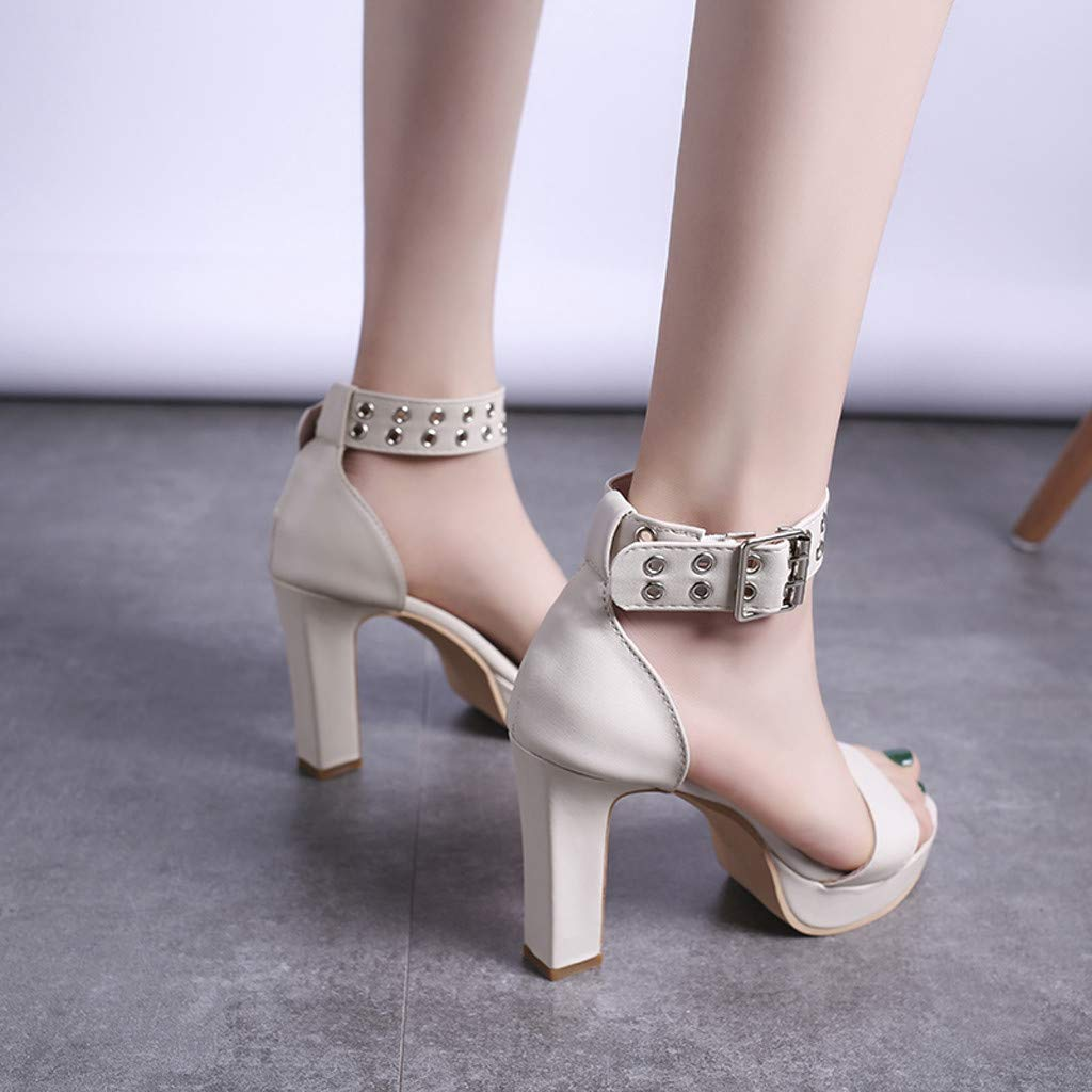 Womens Summer Open Toe Ankle Strap Chunky Block High Heel Dress Party Pump Sandals Beige by CCOOfhhc (Image #8)