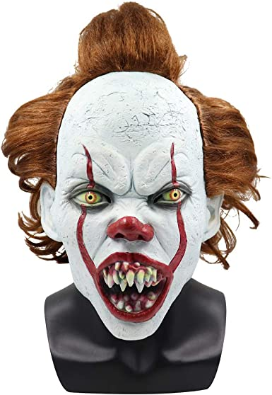 Adult Pennywise IT Clown Mask Deluxe Latex Over Head Halloween Horror Mask