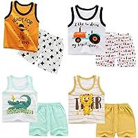 XM-Amigo 8 Pack de niños Niños Chaleco sin Mangas Camisetas Interiores Camisetas sin Mangas Suaves Pantalones Cortos…