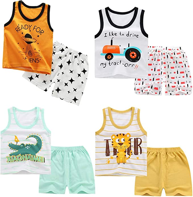 DEYOU 4 Pack of Boys Or Baby Boys Sleeveless T-Shirt Vest Tops Shorts Pants Outfits Clothes Sets,Age 6 Months-5 Years