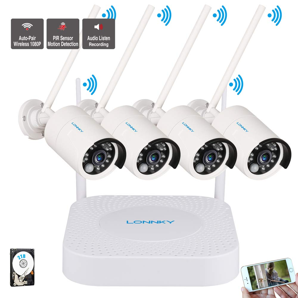 LONNKY 1080P Wireless Home Surveillance Security Camera System,4CH Wireless NVR with 4Pcs 2.0MP Weatherproof Bullet Camera with PIR Sensor and IR Cut Night Vision LEDs, Audio Recording, 2TB HDD