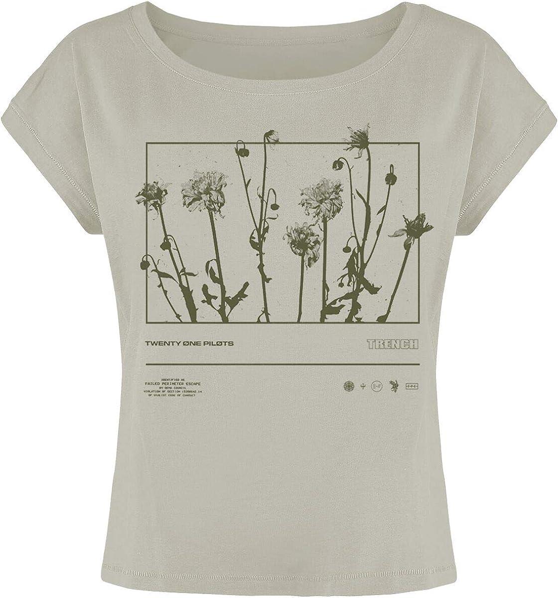 Twenty One Pilots Dandelion Rectangle Mujer Camiseta Gris, Regular