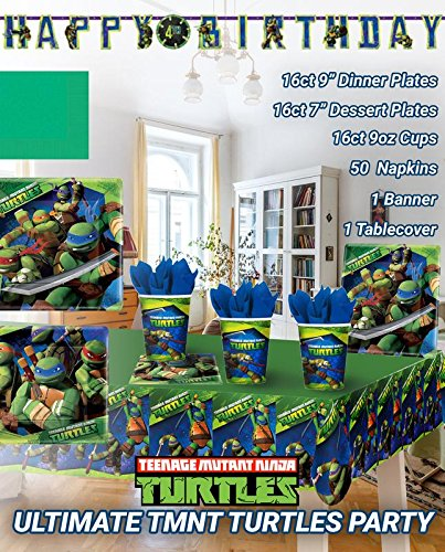 Ultimate TMNT Party!!!Birthday Party Decoration Supplies Bundle Pack with 16lg&16sm Plates 16-9oz Cups, Matching Table Cover&Jumbo Banner,50 Napkins(Bonus Matching Party Straw Pack) -