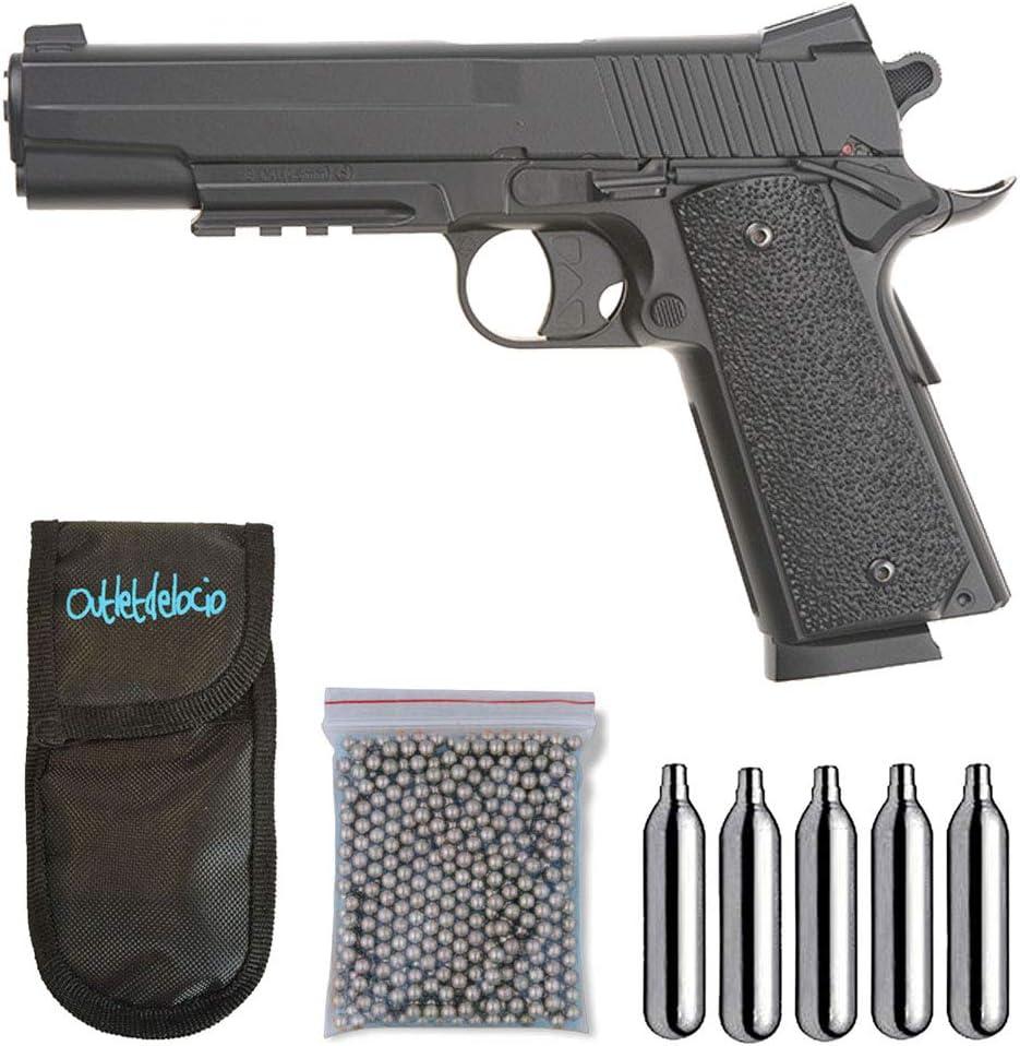 Outletdelocio.. Pistola perdigon KWC 1911 co2 4,5mm. Corredera Metal + Funda Portabombonas + Balines + Bombonas co2. 23054/29318