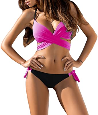 885a7a2971 Grace s Secret Two Piece Swimsuits for Women Sexy Halter Top Tie Side  Bottom Bikini Set Beachwear