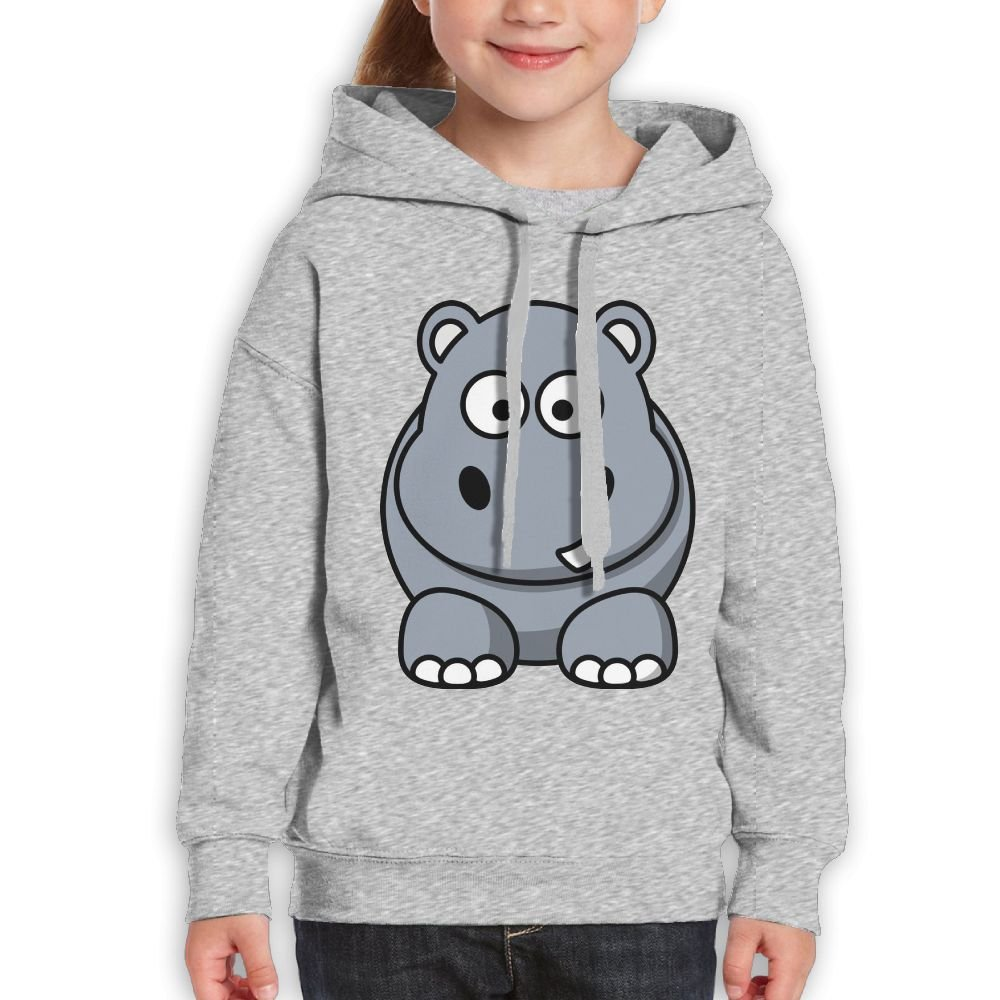 Fashion Girl's Sweatshirts,Soft Cute Cartoon Animals Hippo Cotton Hoodie Pullover For Child