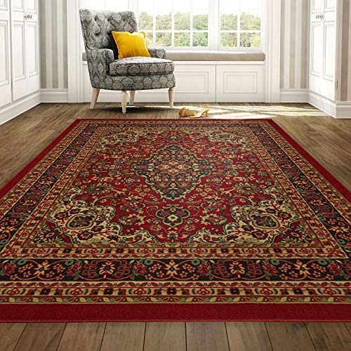 (Ottomanson Ottohome Persian Heriz Oriental Design Area Rug with Non-Skid Rubber Backing, Red, 98